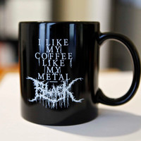 Black Metal Coffee Mug  Black by knifemen on Etsy