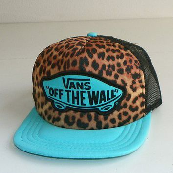 "VANS OFF THE WALL 'CLASSIC PATCH""TRUCKER HAT/CAP-SNAPBACK -TEAL (CHEETAH PRINT)"
