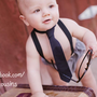 Baby Boy Diaper Cover Suspenders and Neck Tie by fourtinycousins