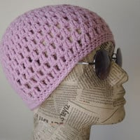 BEANIE hat crochet  lilac   bohemian gypsy hat made to order. The used four seasons.