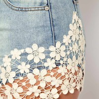 ASOS CURVE Exclusive Denim Short With Crochet Lace