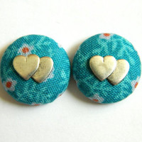 Button Earrings Turquoise Antique Finish Double Silver Hearts Flowers