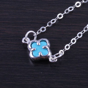 """Clover Necklace, Turquoise Clover Pendant, Silver Clover necklace, flower necklace, lucky necklace, tiny silver clover, """"Turquoise Clover"""""""