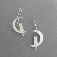 Silver Earrings  Cat on Crescent Moon by DaliaShamirJewelry