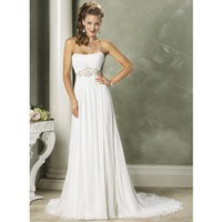 Fashionable Strapless Empire waist Chiffon wedding dress