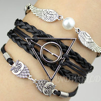 Deathly Hallow, Silver Wings and Owls Charm Bracelet  Leather Braided Bracelet Personalized Friendship gift -N1096