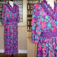 Vintage 1980s Susan Frain Organza Flower Print Dress - Purple, Pink, Aqua