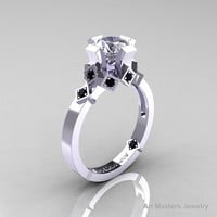 Modern Armenian Bridal 14K White Gold 1.0 Russian Cubic Zirconia Black Diamond Solitaire Ring R240-14KWGBDCZ