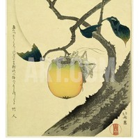 Moon, Persimmon and Grasshopper, 1807 Giclee Print by Katsushika Hokusai
