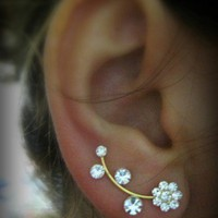 Ear Sweep Wrap - Cuff Earring with Swarovsky - Gold Filled- Flower