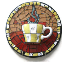 Mosaic Wall Art Cup of Coffee Mixed Media Glass Broken China Decorative Hooks Home Decoration