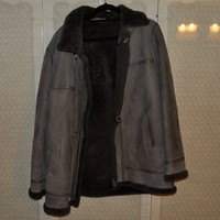 Dark suede and fur coat. Womens L