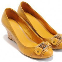 Tory Burch Natalya Mid Yellow Wedges