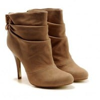 Tory Burch Chestnut Leather High Heeled Booties