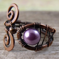 Purple Glass Pearl in Copper Ring by FarOutCreations on Etsy