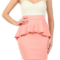 Pretty Peplum Dress: Peach [70797] - $42.99 : Spotted Moth, Chic and sweet clothing and accessories for women