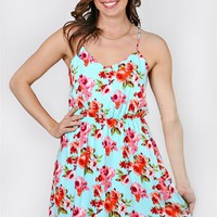Fun &amp; Floral Dress - Aqua from Everly at Bluetique Cheap Chic