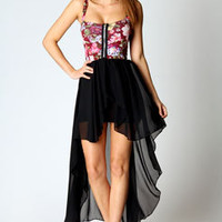 Delia Floral Top Chiffon Skirt Mixi Dress