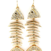 Fish Bones Cooked in Rhinestones & Gold Earrings