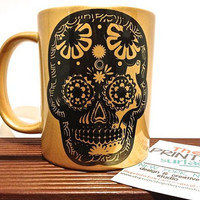Candy skull gold Printed Pattern mug - black with gold mug