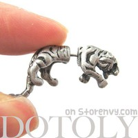 3D Fake Gauge Realistic Tiger Cat Animal Stud Earrings in Silver