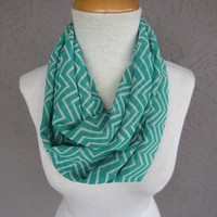 Green Chevron Infinity Scarf - Mint Green and White Chiffon Scarf - Green and White Zigzag Scarf