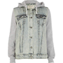 Acid wash contrast sleeve hooded denim jacket