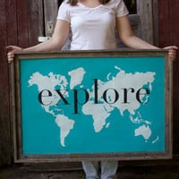 explore Giant Modern World Map Print Poster - 24x36 - ocean blue