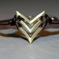 Chevron Bracelet  Metallic Bronze  Arrow  Native  by TwoOneButton