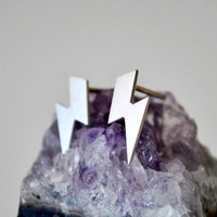 Lightning Bolt Stud Earrings in Sterling Silver
