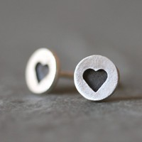 Black Heart Stud Earrings in Sterling Silver