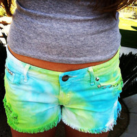 FREE SHIPPING STUDDED Ombre Teal And Green Cut Off Distressed Shorts