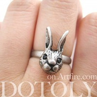 SALE Miniature Adjustable Bunny Rabbit Ring in Silver