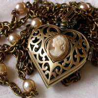 Heart Pocket Watch Pendant Necklace Vintage by LeBoudoirNoir