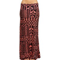 Coral/Black Tribal Maxi Skirt