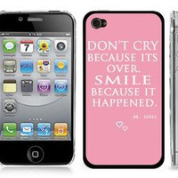 Amazon.com: Dr. Seuss Pink Quote Design Snap-On Cover w/ Clear Hard Carrying Case for iPhone 4/4S - Smile: Cell Phones & Accessories