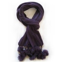 Amazon.com: Trendy Women's Soft Cable Scarf with Pom Poms - Deep Purple: Everything Else