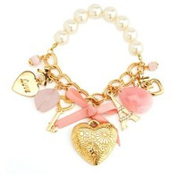 Pearl Heart Charm Bracelet: Charlotte Russe