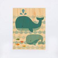 UNFRAMED 11x14 Whale with Baby Print on Wood by petitcollage