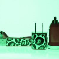Hot Pink Leopard Glow in the Dark iPhone Charger (cable, wall adapter and car charger included)
