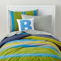 The Land of Nod | Boys Bedding: Bright Colored Striped Bedding Set in Boy Bedding