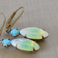 Turquoise and Green Estate Earrings, Vintage Leaf Glass Rhinestone, Antiqued Brass, Lever Back Earrings, Bridesmaids