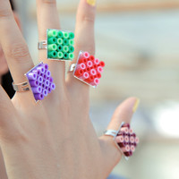 Square Plastic Ring. Choose Your Color. Simple & Versatile Fun Jewelry.