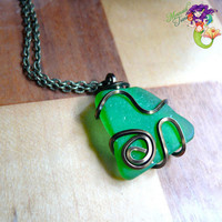 Green Seaglass Necklace - wire wrapped sea glass jewelry from Hawaii by Mermaid Tears