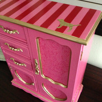 Victoria's Secret Pink Inspired Vintage Jewelry Box Hand Painted And Decoupaged