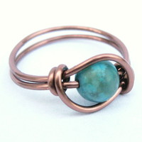 Turquoise Jasper Ring In Antiquw Copper | Luulla