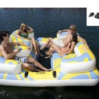 Amazon.com: INTEX Oasis Island Inflatable Floating Water Lounge Raft w/ Air Pump | 58299Q: Sports &amp; Outdoors