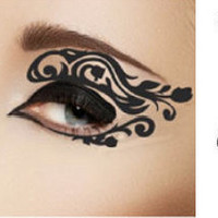 1 Pair of Temporary Tattoo for Eyes Eyelids Black Color Rose FLower Laced Shape