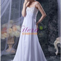 Applique Spaghetti Straps Dipped Neck Floor Length White Chiffon Wedding Dress