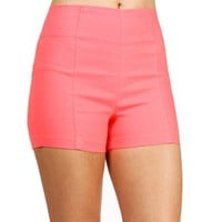 Neon Coral High Waisted Shorts